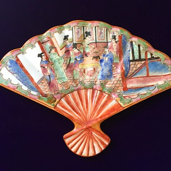 Japanese porcelain fan - Asian