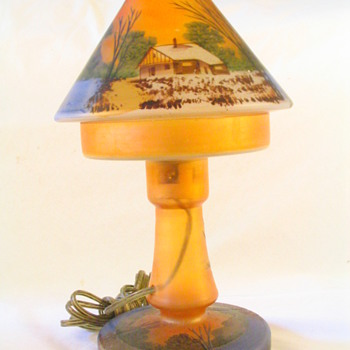 All Glass Reverse-painted Boudoir Lamp - Lamps