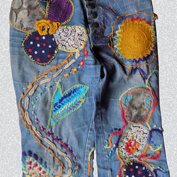 Illinois Art Major's Masterpiece 1960s Embroidered Hippie Jeans - Womens Clothing