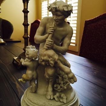 CLODION PORCELAIN GLAZED SCULPTURE OF PAN. - Figurines