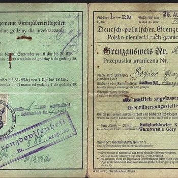 German 1937 border-crossing passport/permit