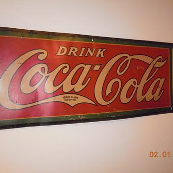 """1927 Cardboard  Coca Cola Sign by MCA Sign Co. Massillon, Ohio  60""""x21"""" - Coca-Cola"""