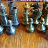 Chess set from? pewter and brass ?, weighs 7 1/2 pounds