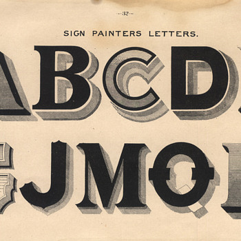 Typographical 19th Century Lettering print - Paper