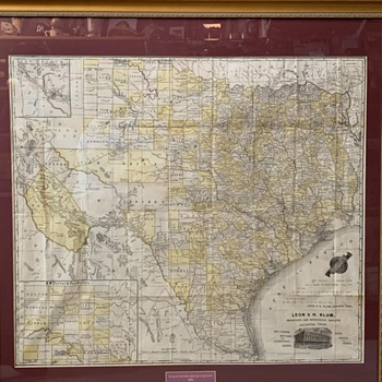 Texas Map 1886 with Greer county shown in Texas advertising Leon & H. Blum importers and Wholesale Dealers, Galveston, Texas - Paper