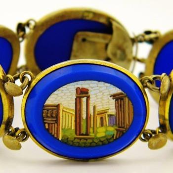 Antique Victorian Micro Mosaic Royal Blue Gilt Panel Bracelet - Fine Jewelry