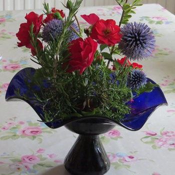 Cobalt Blue Glass Flared Vase - Art Glass