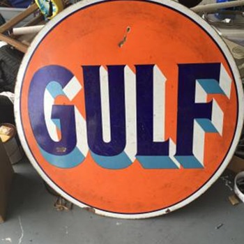"1920's GULF sign porcelain 42"" Thanks Manikin!!! - Petroliana"