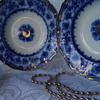 Fabulous English flow blue dishes with gold detail.