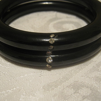 Vtg Black Bracelets/Clear Stones  - Costume Jewelry
