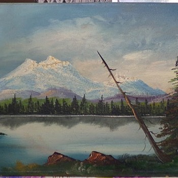 Vintage Mountain Lake Painting  - Fine Art