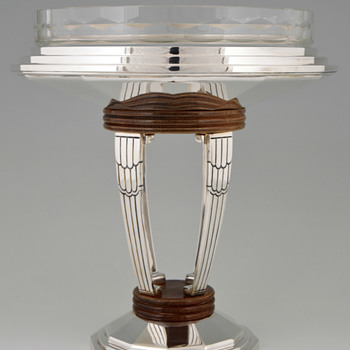 My Favorite Art Deco Durousseau & Raynaud Silver Plated, Wood & Finely Cut Glass Centerpiece - Art Deco