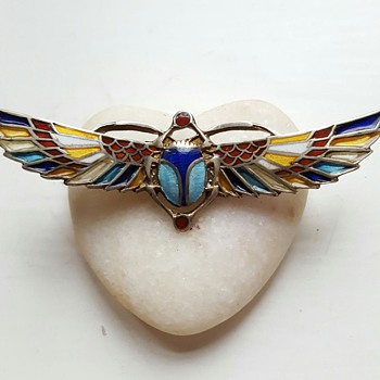 800 silver plique à jour egyptian revival winged scarab brooch.