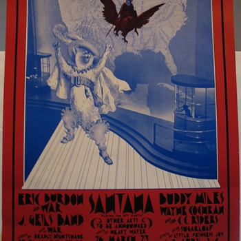 BG275 Poster-Eric Burdon & War,  J. Geils Band, Santana 1971 Fillmore West & Winterland  - Posters and Prints
