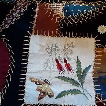 Velvet and silk crazy quilt. - Folk Art