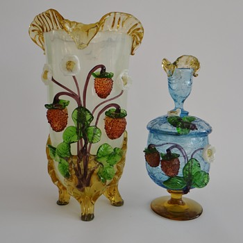"Early Loetz - ""Barock decoration"" with strawberries - Art Glass"