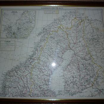 British WW11 silk escape map, Scandinavia and the Baltic.