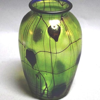 Imperial Free Hand Heart & Vine Vase c.1920's - Art Glass