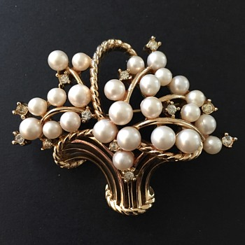 Vintage Trifari Pearl Flower Basket Brooch - Costume Jewelry