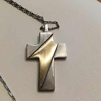 TKF Silver and Goldtone Contemporary Cross (Trifari?) - Fine Jewelry