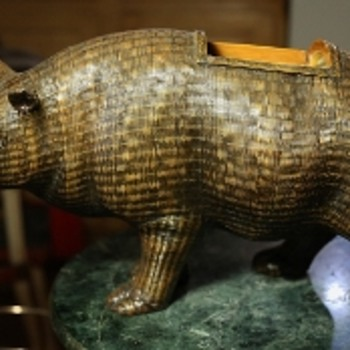 Very Large Woven Rattan Rhino - missing one horn!