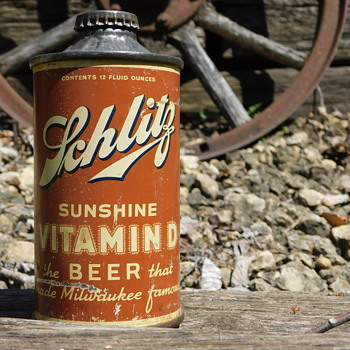 1938 Schlitz Sunshine Vitamin D Cone Top Beer Can - Breweriana