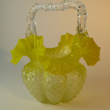 Yellow Bohemian glass basket - Art Glass