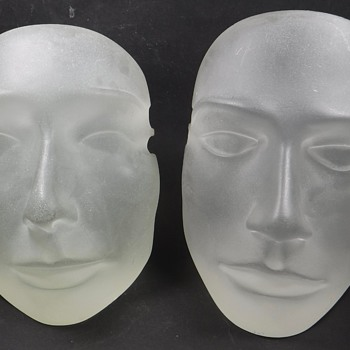 2 Frosted Glass Faces  - Art Glass