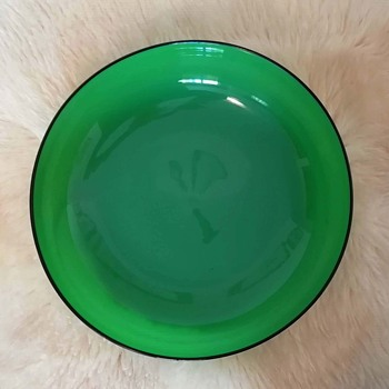 Loetz large green tango glass bowl - Art Glass