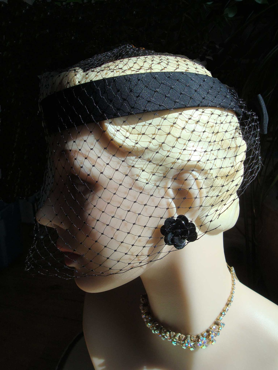 f37d68ea5f4 Black Halo Net Hat ca 1950