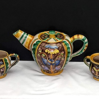 Industria Ceramica Salernitana 1930's teapot, creamer and sugar - China and Dinnerware