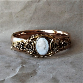 A Christmas Gift  - Vintage Rolled Rose Gold Bangle  - Costume Jewelry