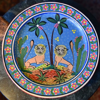 Mexican Pottery Plate with Two Dancing Nahuales - Pottery