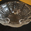 Glass Candy Dish with White Etched Design