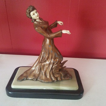 spelter statue with celluloid face and hands - Art Deco