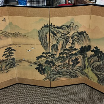 """Vintage Chinese  Screen Titled """"Steep Mountain and Bridge on Stream"""" Unknow why artist seal is Covered up??"""