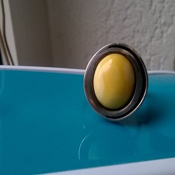 Egg Yolk Amber & Sterling Ring - Fine Jewelry