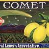 Comet crate label Villa Park Orange County California 1930s
