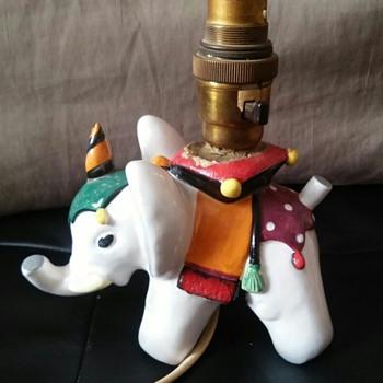 Italian Ceramic Elephant converted to Table Lamp - Figurines
