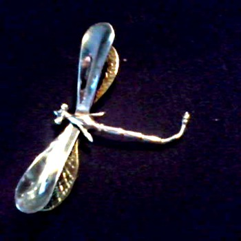 Large Silver and Gold Dragonfly Brooch /Marked .925 with Hallmarks Illegible/ Circa 20th Century - Fine Jewelry