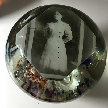 Vintage Paperweight Picture of lady Any ideas Trumpets inside