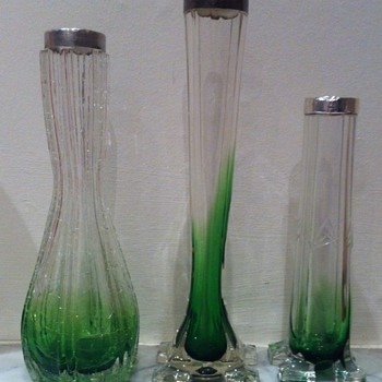 Green to clear footed trio - Art Glass