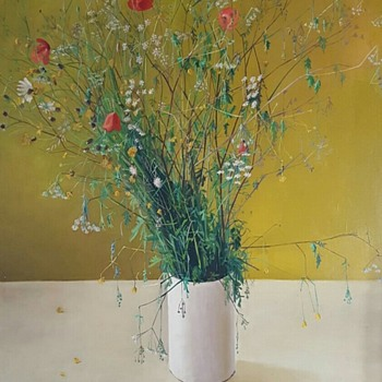 Wild flowers in a vase oil on canvas. - Fine Art