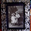 1890s Kid's W/ Rocking Horse Cabinet Photo,In MOTHER OF PEARL INLAY FRAME