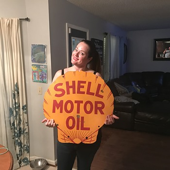 1920's Shell Motor Oil Porcelain sign. - Petroliana
