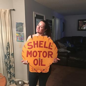 1920's Shell Motor Oil Porcelain sign. - Petroliana