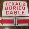 D-X credit card app. tin box; porcelain 3-piece Texaco buried cable sign