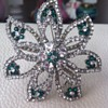 Star Brooch Costume Paste and Green glass - Missing