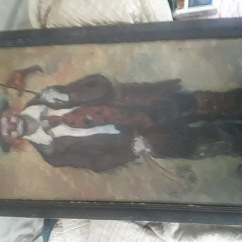 Vintage clown painting - Fine Art