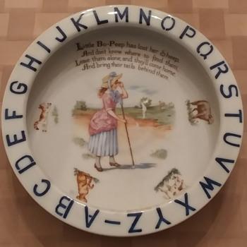 Antique SCHUMANN Bavaria LITTLE BO PEEP Alphabet Nursery Rhyme Child's Porringer - Kitchen